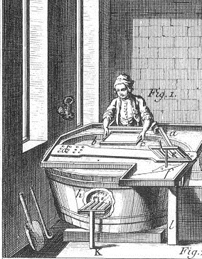 Workman holding a paper mould, letting the water drain from the paper pulp. 18th-century engraving.