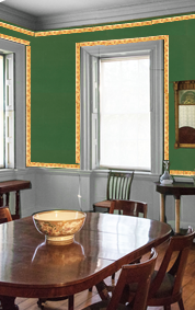 Another mockup of the appearance of the Morris-Jumel Mansion dining room circa 1800.