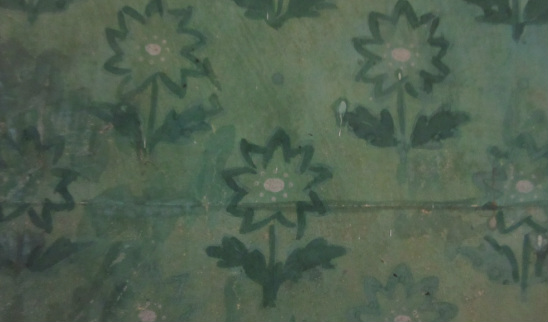 Detail of a seam in the Morris-Jumel wallpaper.