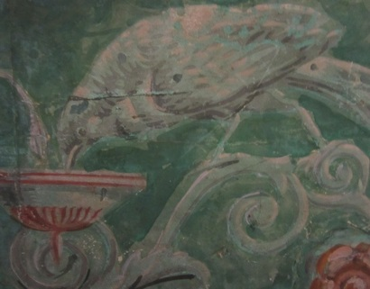 Detail of a bird on wallpaper at the Morris-Jumel Mansion.
