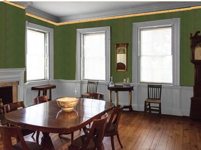 Another mockup of the Morris-Jumel Mansion dining room wallpaper, as it might have looked after years of light exposure.