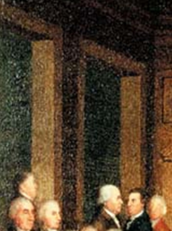 Detail of Congress Voting Independence by Robert Edge Pine and Edward Savage.