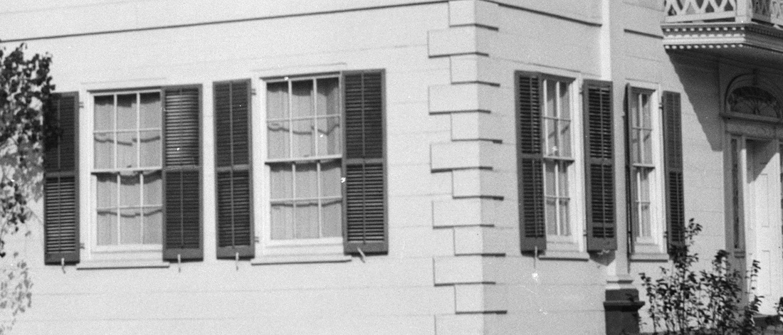 Several windows of the Morris-Jumel mansion, shown in a photograph of 1936.