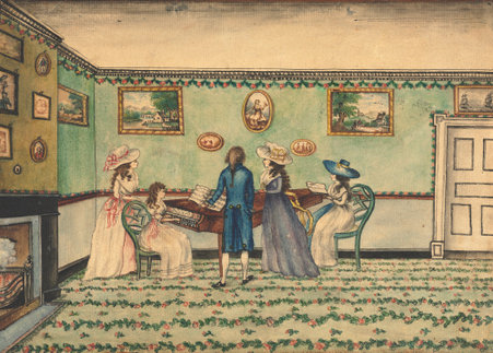 Watercolor by Benjamin Thompson of a harpsichord recital, painted in the 1790s.