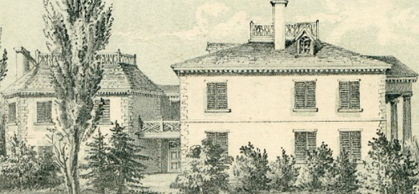 Detail of a lithograph of the exterior of the Morris-Jumel Mansion in 1854.