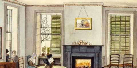Detail of Joseph Shoemaker Russell's painting of the South Parlor of Abraham Russell, Esq., of New Bedford, Massachusetts, showing green venetian blinds seen from the interior of the room.