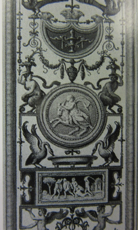 Detail of an engraving by Giovanni Volpato of decoration in the Vatican Loggia.