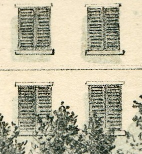 Close-up view of the windows of the Morris-Jumel Mansion as seen in the 1854 lithograph.