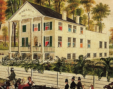 Detail of Oakland House and Race Course, a painting by Robert Brammer and Augustus A. Von Smith, which features green venetian blinds on the exterior of a white building.
