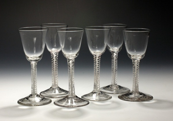 Photograph of a set of six mid-eighteenth-century wineglasses.