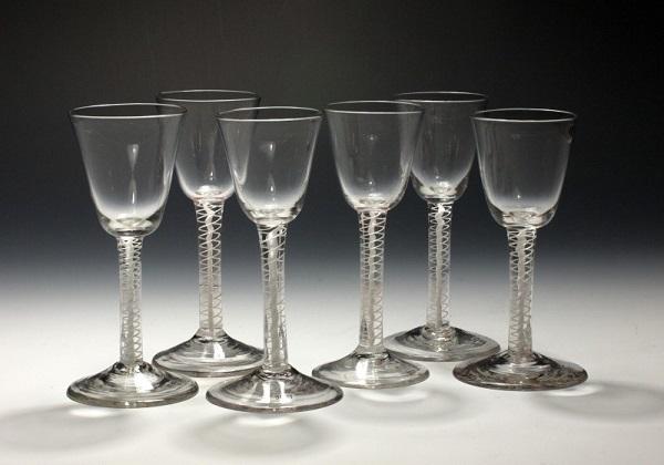 Photograph of a set of six mid-eighteenth-century wineglasses.