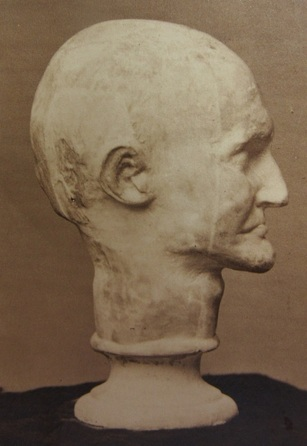 Photograph of a plaster death mask of Aaron Burr belonging to the New-York Historical Society.