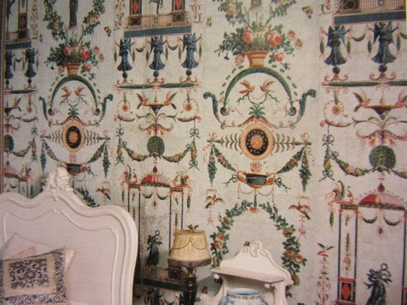 Detail of a room hung with  Réveillon wallpapers printed in 1789.