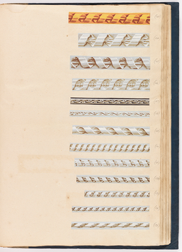 Another page ofFrench wallpaper borders in a sample book, circa 1785 to 95.
