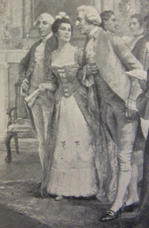 Roger and Mary Morris with Gov. Franklin (detail of a painting by John Ward Dunsmore).