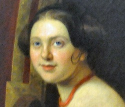 Detail of an oil painting showing Eliza Jumel's niece and namesake as a young woman.