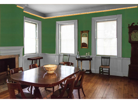 Dining room at the Morris-Jumel Mansion, shown with a mockup of wallpaper like that that might have hung in the room in the late-eighteenth century.