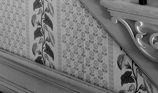 Detail of the wallpaper in the stair hall of the William L. Brown House in Providence, Rhode Island.