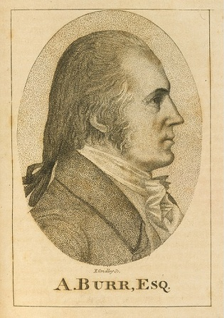 A bust-length portrait of Aaron Burr, circa 1801, reproduced from a biographical dictionary belonging to the National Portrait Gallery, Smithsonian Institution.