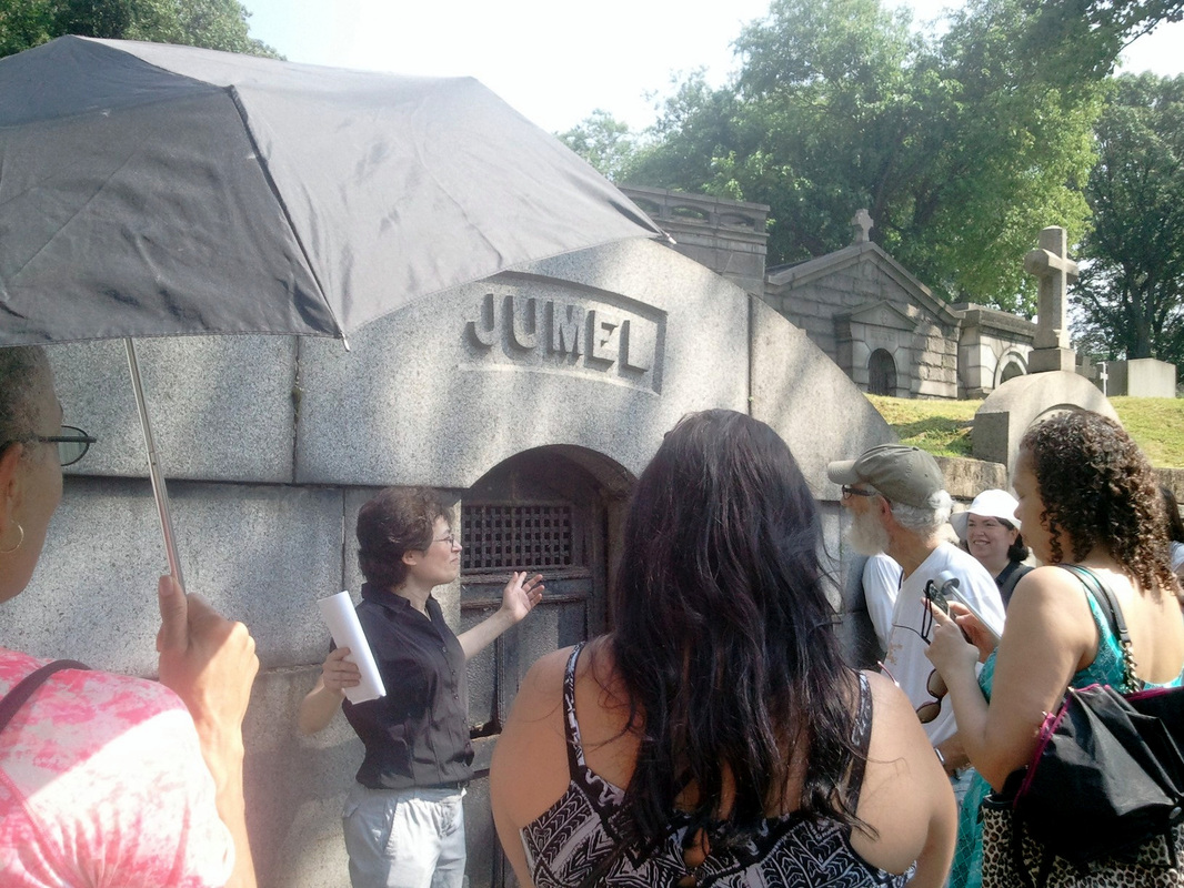 Photograph of people gathered at Mme. Jumel's grave on July 18, 2015