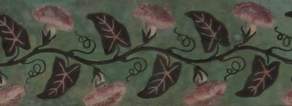 Detail of a morning glory vine from the Morris-Jumel Mansion wallpaper.