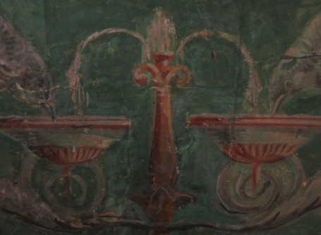 Detail of birds sipping from a fountain on the Morris-Jumel Mansion wallpaper.