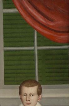 Detail of Erastus Salisbury Field's painting of Joseph Moore and His Family, ca. 1839, showing a venetian blind seen through a window.