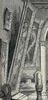 Detail of a 19th-century engraving showing paintings hanging in the hallway of the Morris-Jumel Mansion.