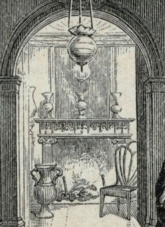Detail of an engraving, showing a fireplace and mirror in the octagon room of the Morris-Jumel Mansion.