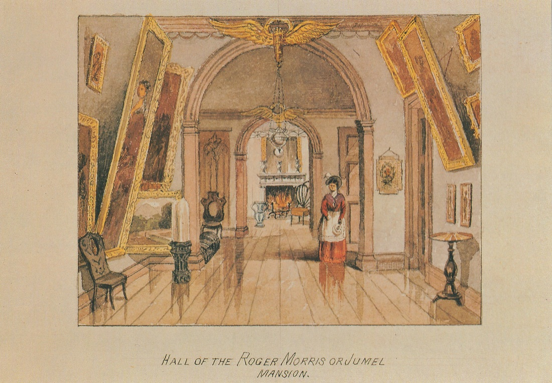 Postcard showing the hallway of the Morris-Jumel Mansion in the nineteenth century.