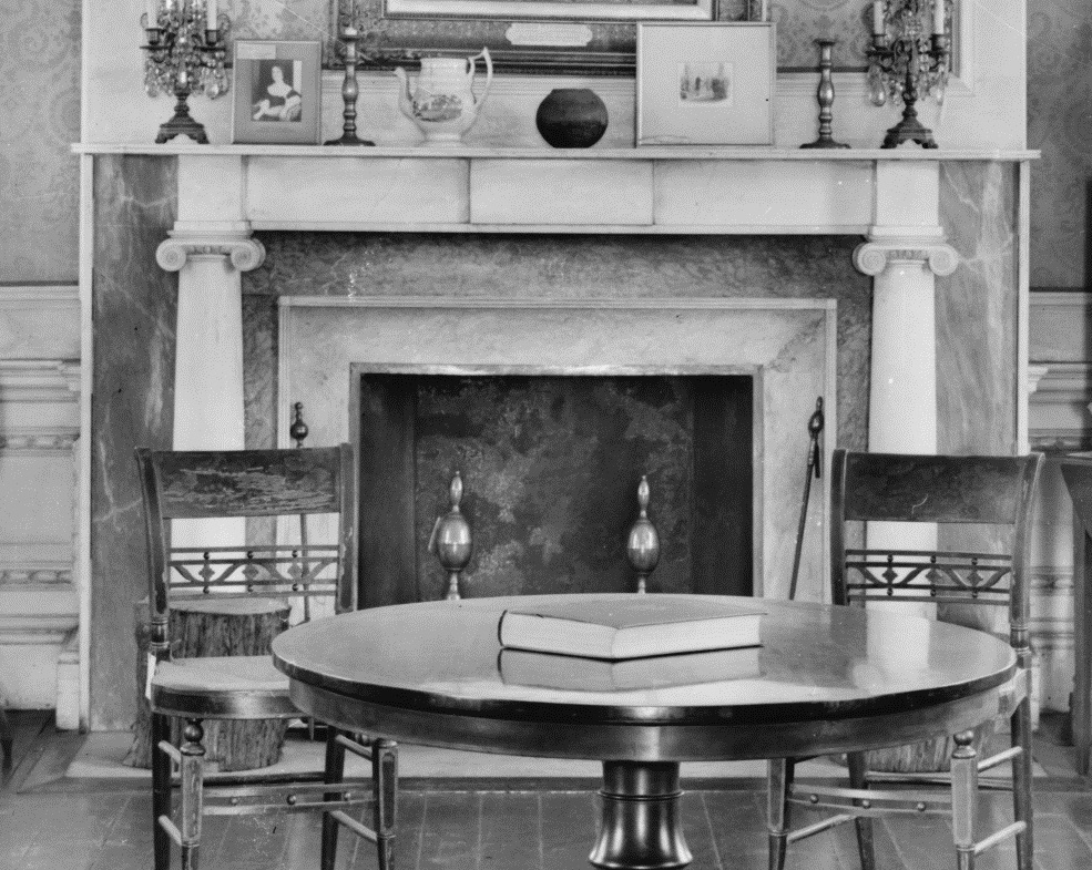 Photograph of the fireplace in the octagon room of the Morris-Jumel Mansion, ca. 1905-1915.
