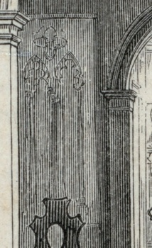Detail of a window blind in a 19th-century engraving of the Morris-Jumel Mansion.